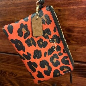 Coach leopard print small wristlet